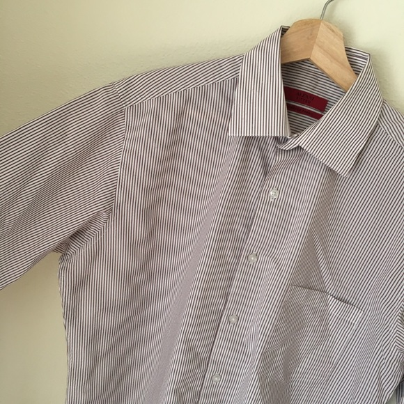 Long Sleeve New Pin Stripe Stretchy Fitted Shirt
